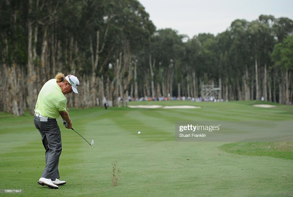 Miguel Angel Jimenez of Spain plays a shot during the third round of the UBS Hong Kong open at The Hong Kong Golf Club on November 17, 2012 in Hong Kong, Hong Kong.