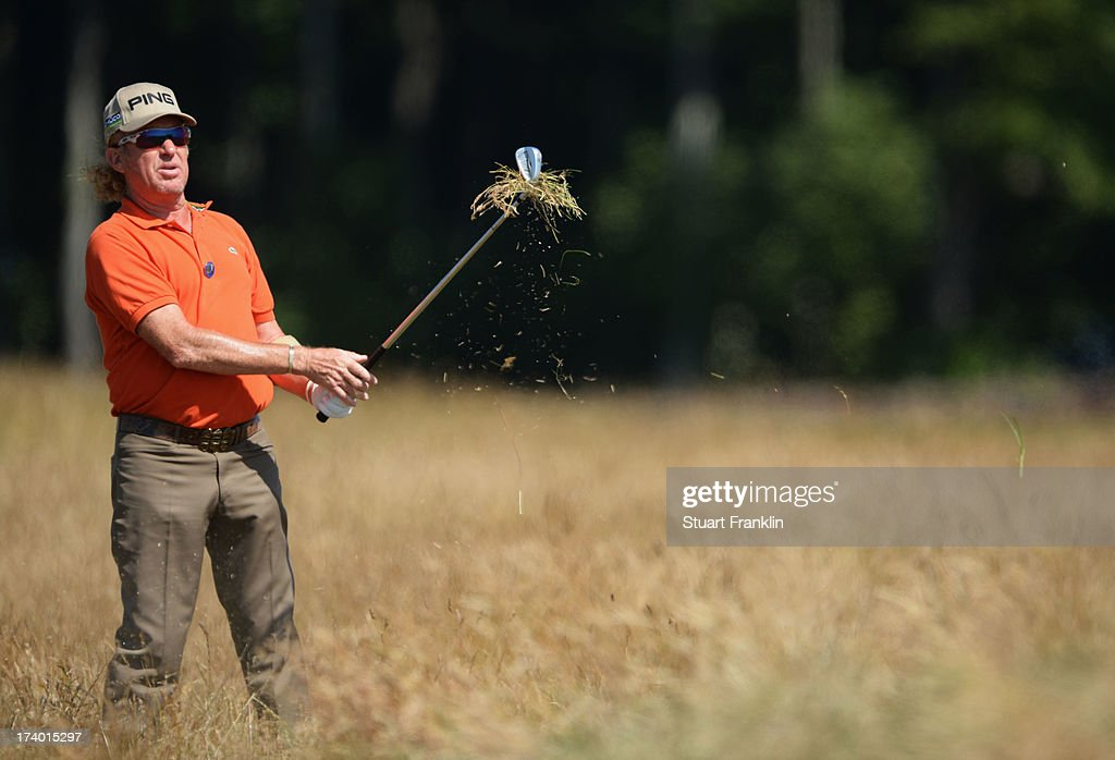 Miguel Angel Jimenez of Spain plays out of the rough on the 9th hole during the second round of the 142nd Open Championship at Muirfield on July 19, 2013 in Gullane, Scotland.