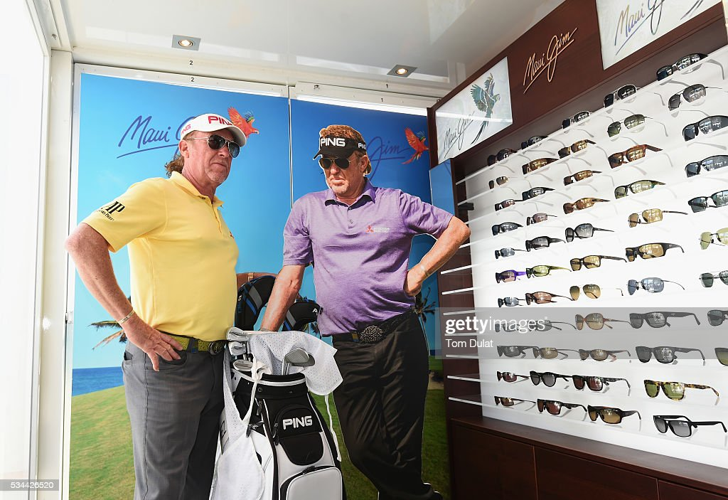<a gi-track='captionPersonalityLinkClicked' href=/galleries/search?phrase=Miguel+Angel+Jimenez&family=editorial&specificpeople=171700 ng-click='$event.stopPropagation()'>Miguel Angel Jimenez</a> of Spain poses at the Maui Jim sunglasses stand during day one of the BMW PGA Championship at Wentworth on May 26, 2016 in Virginia Water, England.
