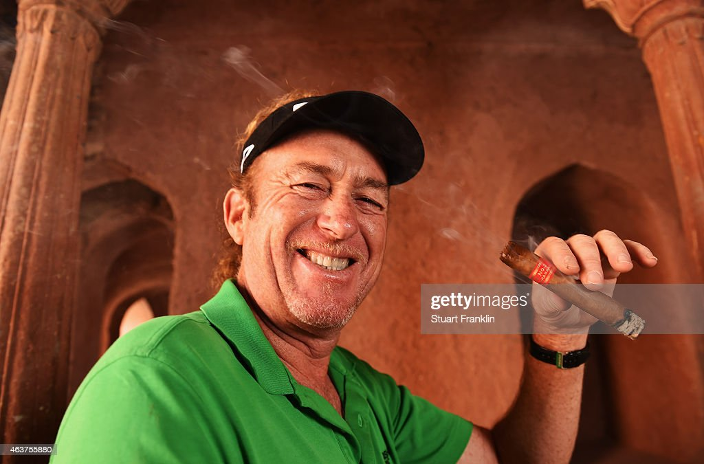 <a gi-track='captionPersonalityLinkClicked' href=/galleries/search?phrase=Miguel+Angel+Jimenez&family=editorial&specificpeople=171700 ng-click='$event.stopPropagation()'>Miguel Angel Jimenez</a> of Spain poses for a picture prior to the start of the Hero India Open Golf at Delhi Golf Club on February 18, 2015 in New Delhi, India.