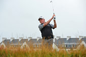 Miguel Angel Jimenez of Spain second shot to the 1st hole during the final day of The Senior Open Championship at Carnoustie Golf Club on July 24...