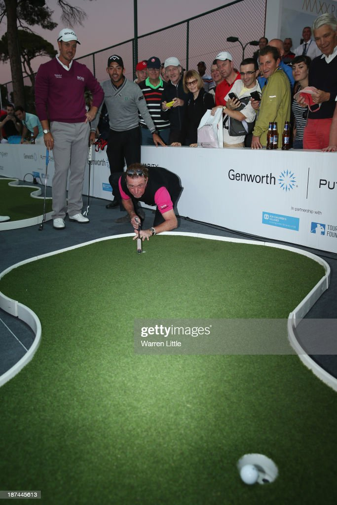 Miguel Angel Jimenez of Spain takes part in the Genworth Putts4Charity Challenge Series Final after the second round of the Turkish Airlines Open at The Montgomerie Maxx Royal Course on November 8, 2013 in Antalya, Turkey.