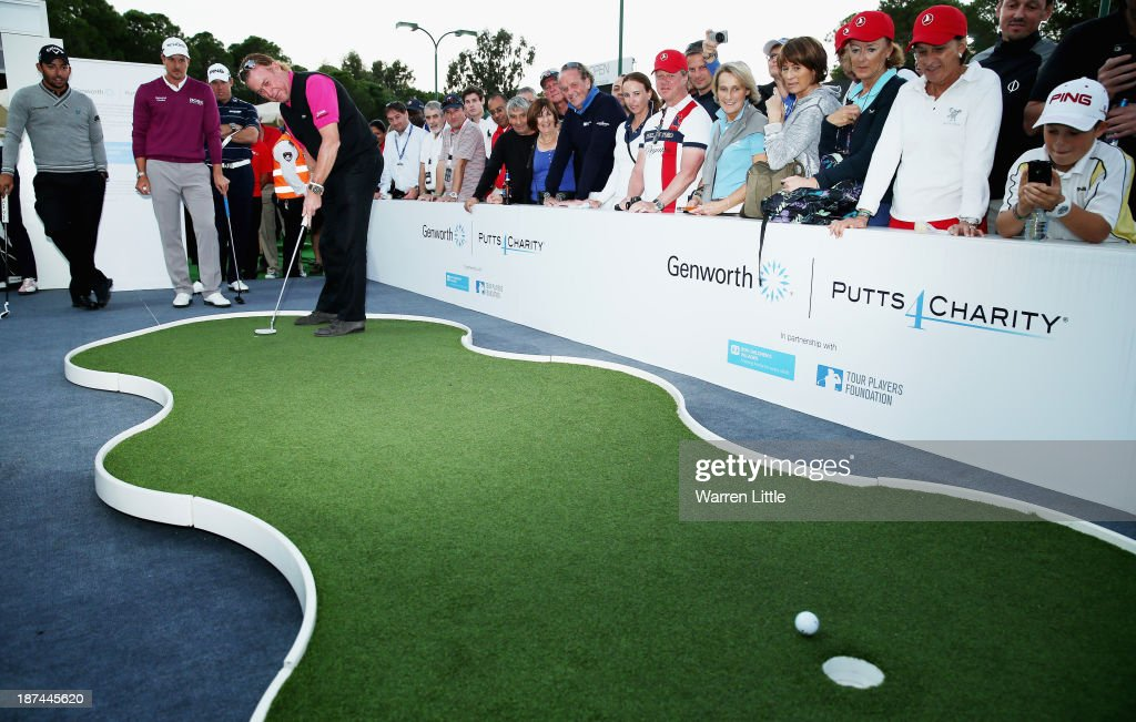 <a gi-track='captionPersonalityLinkClicked' href=/galleries/search?phrase=Miguel+Angel+Jimenez&family=editorial&specificpeople=171700 ng-click='$event.stopPropagation()'>Miguel Angel Jimenez</a> of Spain takes part in the Genworth Putts4Charity Challenge Series Final after the second round of the Turkish Airlines Open at The Montgomerie Maxx Royal Course on November 8, 2013 in Antalya, Turkey.