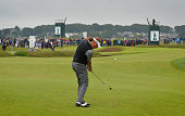 Miguel Angel Jimenez of Spain waits to play on the 1st fairway during the final day of The Senior Open Championship at Carnoustie Golf Club on July...