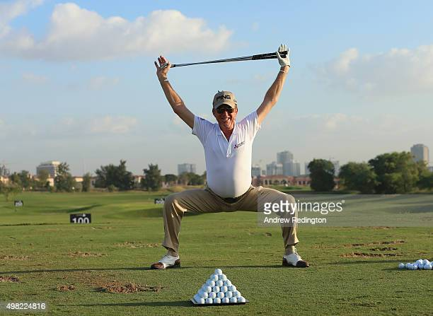 Miguel Angel Jimenez of Spain warms up on the driving range prior to teeing off in the final round of the DP World Tour Championship on the Earth...