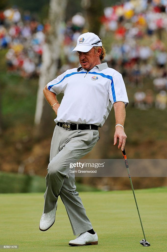 Miguel Angel Jimenez of the European watches a putt during the afternoon four-ball matches on day one of the 2008 Ryder Cup at Valhalla Golf Club on September 19, 2008 in Louisville, Kentucky.