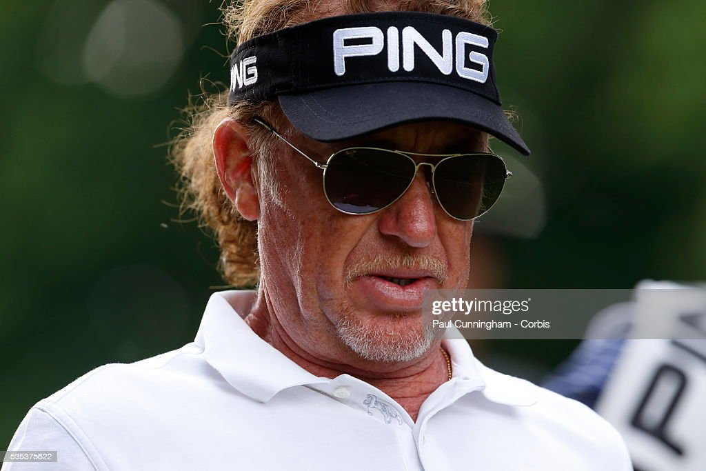 Miguel Angel Jimenez on the 16th tee during day two of the BMW PGA Championship at Wentworth on May 27, 2016 in Virginia Water, England.