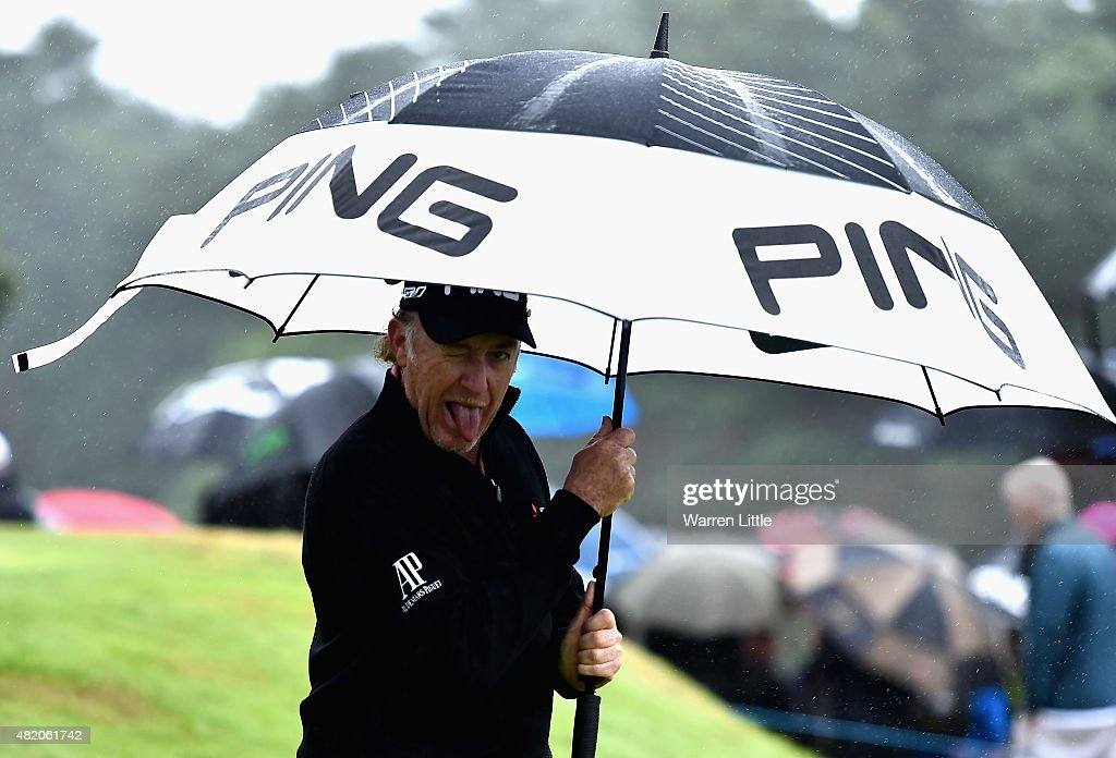 Miguel Angel Jimenez pulls a face as he leave the ninth tee box during the final round of The Senior Open Championship on the Old Course at...