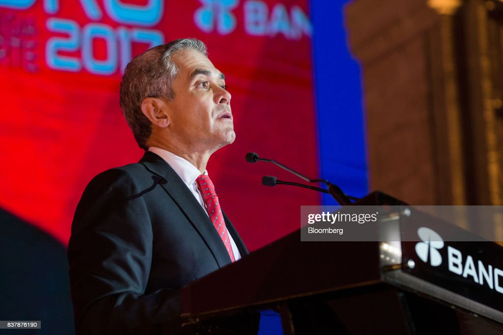 Miguel Angel Mancera Espinosa, mayor of Mexico City, speaks during a reception following the Banorte Strategy Annual forum in Mexico City, Mexico, on Tuesday, Aug. 22, 2017. The sixth annual meeting was titled, 'A Strong Mexico, In The Future Of Mexico.' Photographer: Brett Gundlock/Bloomberg via Getty Images