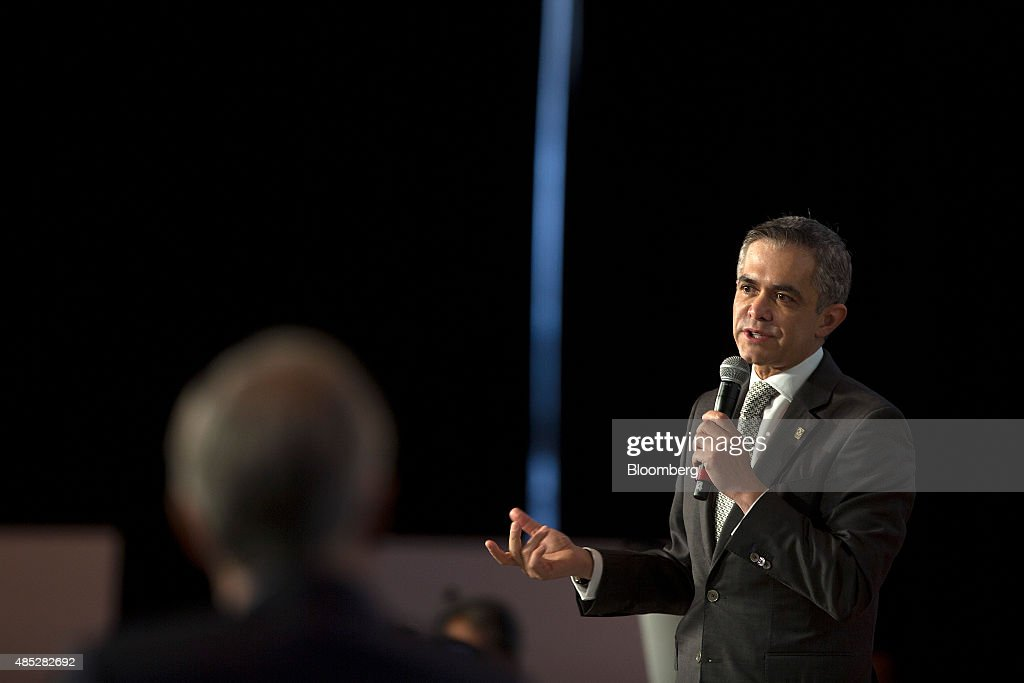Miguel Angel Mancera, mayor of Mexico City, speaks at the Banorte Mexico Strategy Forum in Mexico City, Mexico, on Wednesday, Aug. 26, 2015. Mexico's currency has followed a slide in developing nations amid the threat of a further global economic slowdown as the government continues to struggle with the collapse in oil prices and crude production. Photographer: Susana Gonzalez/Bloomberg via Getty Images