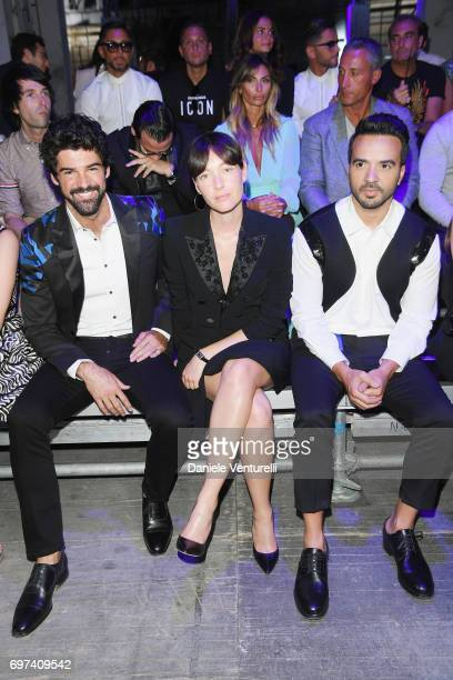 Miguel Angel Munoz Cristiana Capotondi Luis Fonsi arrive at the Dsquared2 show during Milan Men's Fashion Week Spring/Summer 2018 on June 18 2017 in...