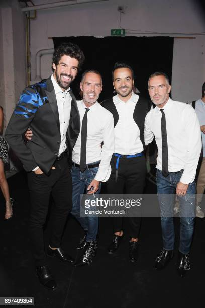 Miguel Angel Munoz Dean Caten Luis Fonsi and Dan Caten arrive at the Dsquared2 show during Milan Men's Fashion Week Spring/Summer 2018 on June 18...