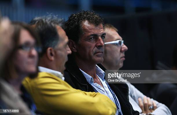 Miguel Angel Nadal uncle of Rafael Nadal of Spain watches his men's singles match against Tomas Berdych of the Czech Republic during day five of the...