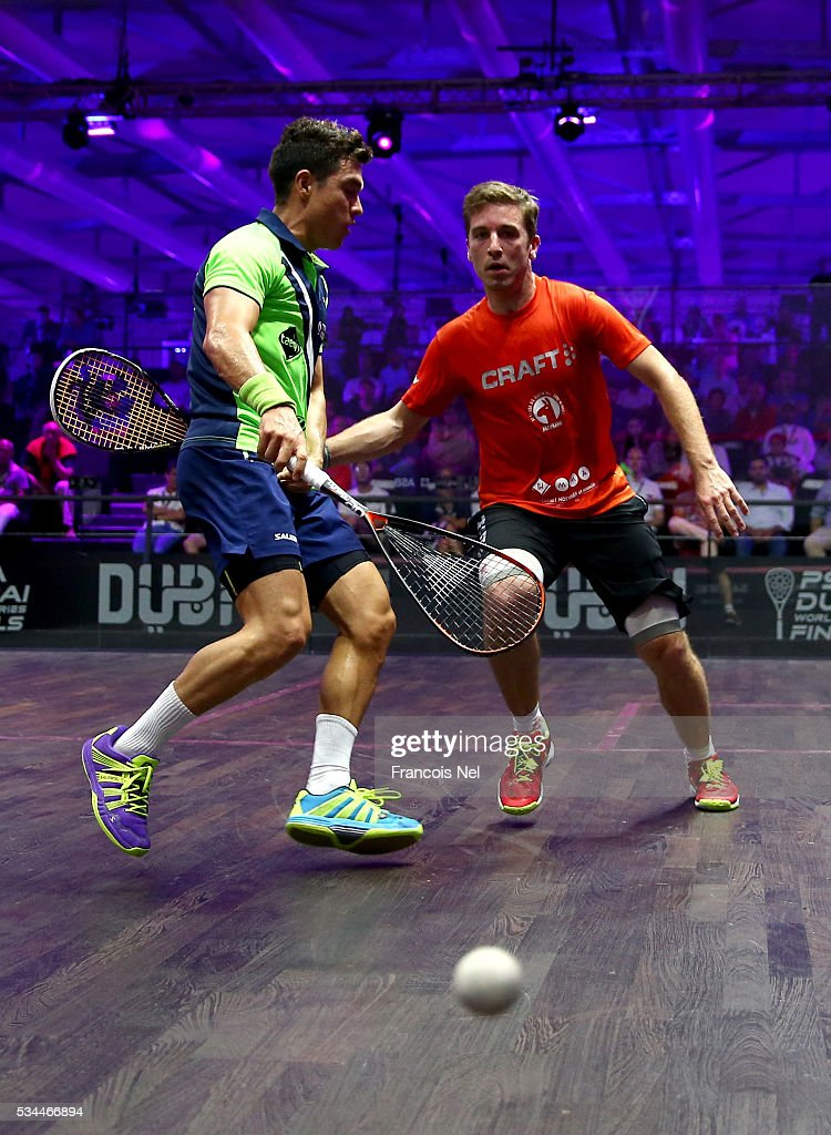 Miguel Angel Rodriguez of Colombia competes against Mathieu Castagnet of France during day three of the PSA Dubai World Series Finals 2016 at Burj Park on May 26, 2016 in Dubai, United Arab Emirates.