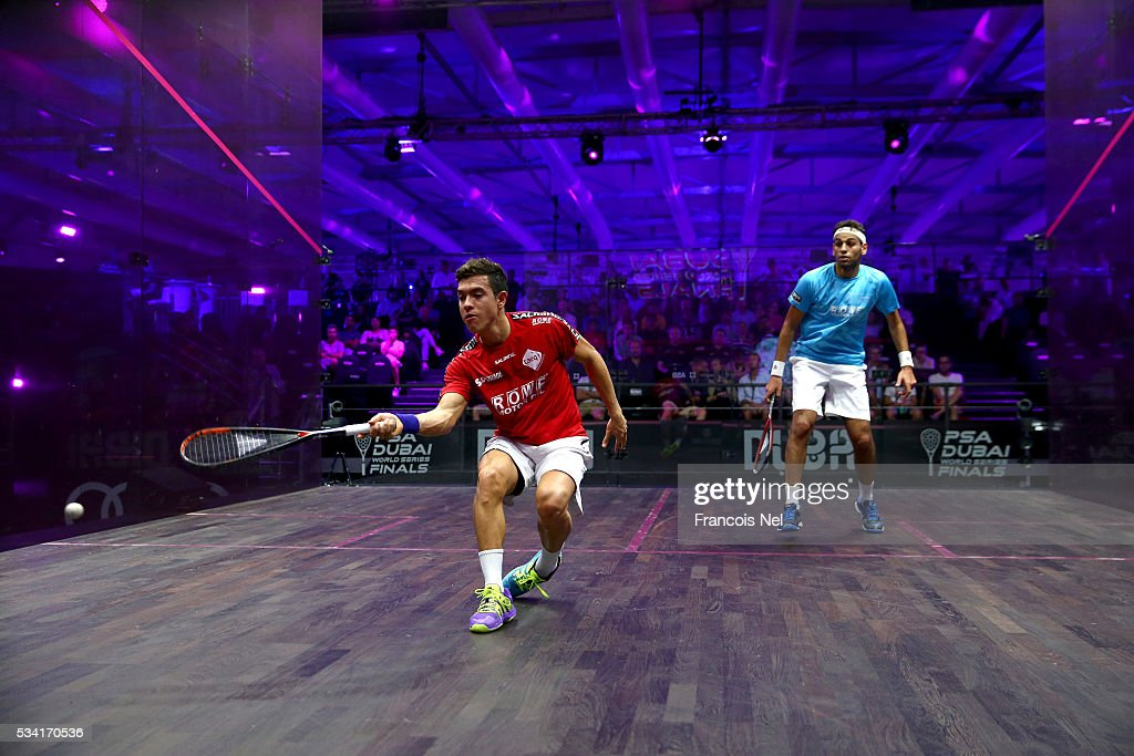 Miguel Angel Rodriguez of Colombia competes against Mohamed Elshorbagy of Egypt during day two of the PSA Dubai World Series Finals 2016 at Burj Park on May 25, 2016 in Dubai, United Arab Emirates.