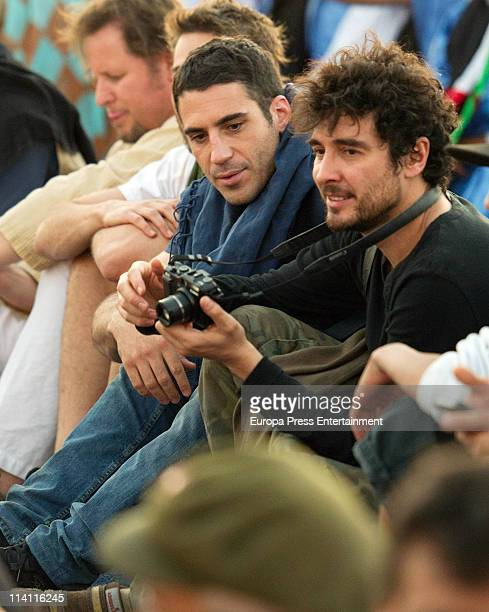 Miguel Angel Silvestre and Jose Manuel Seda visit the Dajla's Saharan refugee camp during the 8th Sahara International Film Festival on May 5 2011 in...