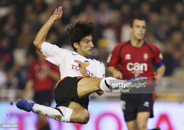 Miguel Angulo of Valencia takes a shot at goal during a Primera Liga match between Valencia and Osasuna at the Mestalla stadium on January 14 2006 in...