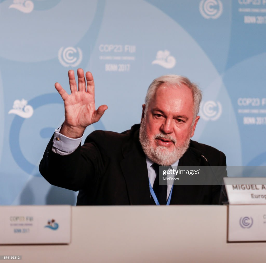 Miguel Arias Canete at the European Union press conference at COP23 Fiji conference in Bonn, Germany on the 14th of November 2017. COP23 is organized by UN Framework Convention for Climate Change. Fiji holds presidency over this meeting in Bonn.