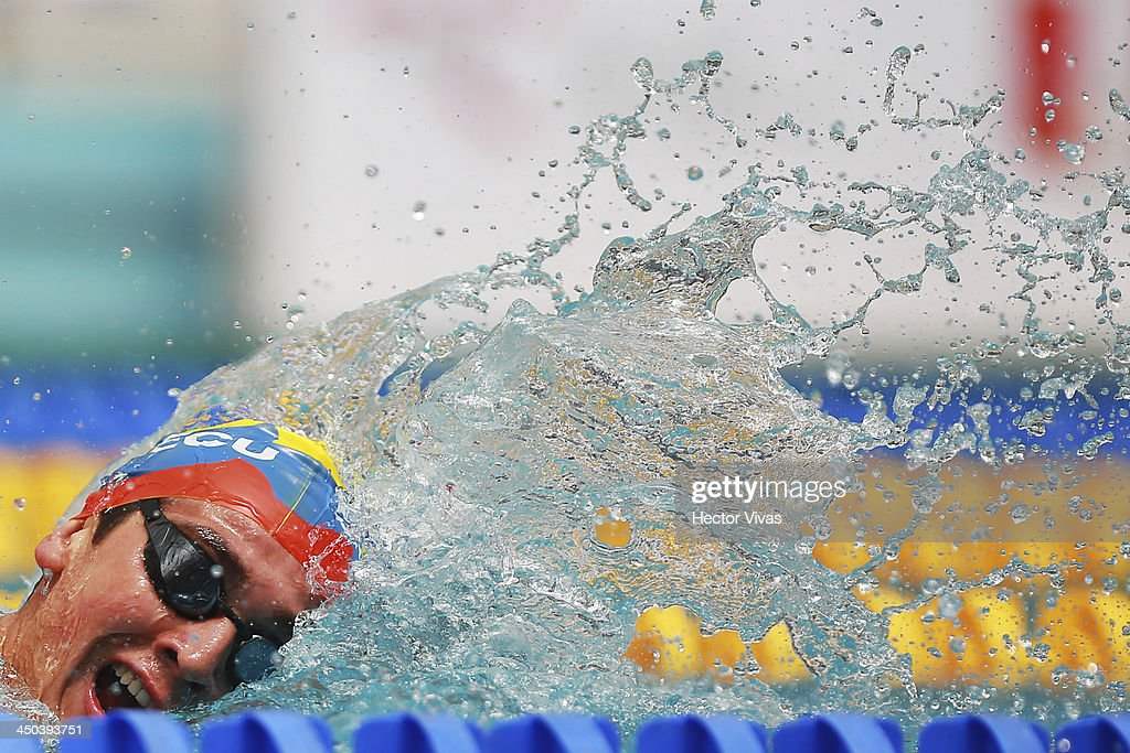 Miguel Armijos of Ecuador during the 400 meters free swimming competition as part of the XVII Bolivarian Games Trujillo 2013 at pools complex of Mansiche Stadium on November 18, 2013 in Trujillo, Peru.