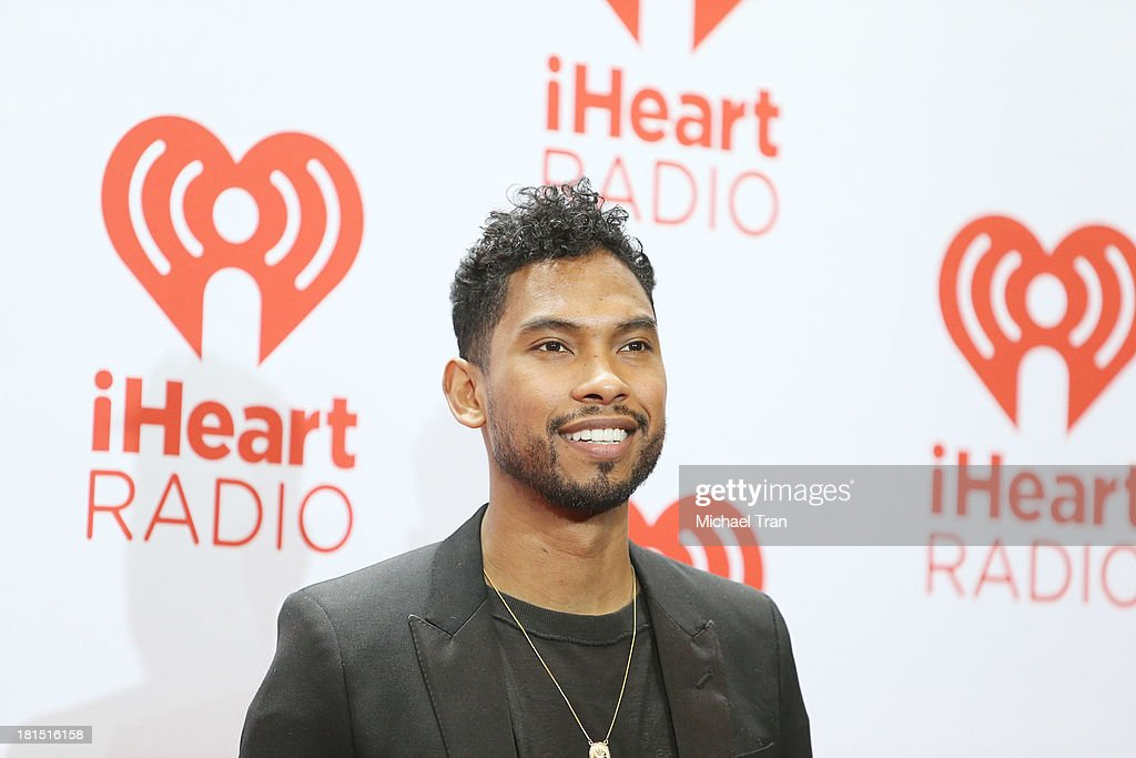 <a gi-track='captionPersonalityLinkClicked' href=/galleries/search?phrase=Miguel+-+Singer&family=editorial&specificpeople=8842866 ng-click='$event.stopPropagation()'>Miguel</a> arrives at the iHeartRadio Music Festival - press room - Day 2 held on September 21, 2013 in Las Vegas, Nevada.