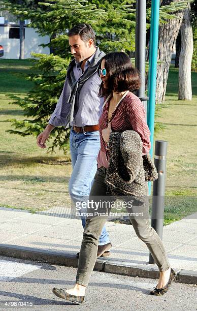 Miguel Baez 'El Litri' and Carolina Adriana Herrera arrive at Hospital to visit bullfighter Enrique Ponce after beeing gored for a bull during Fallas...