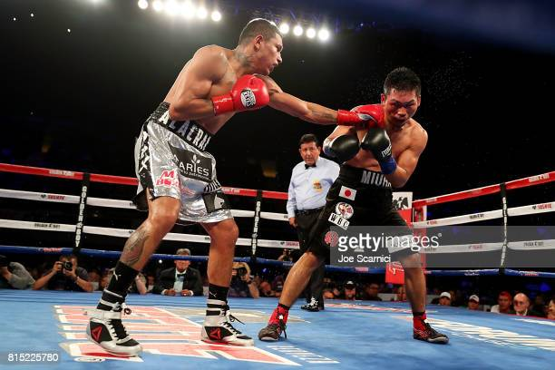 Miguel Berchelt throws a punch in the twelfth round of the WBC Super Featherweight Title Fight against Takashi Miura at The Forum on July 15 2017 in...