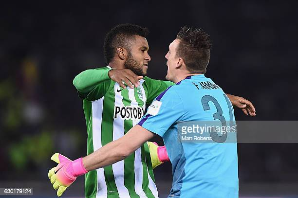Miguel Borja and Franco Armani of Atletico Nacional celebrate victory during the FIFA Club World Cup 3rd place match between Club America and...