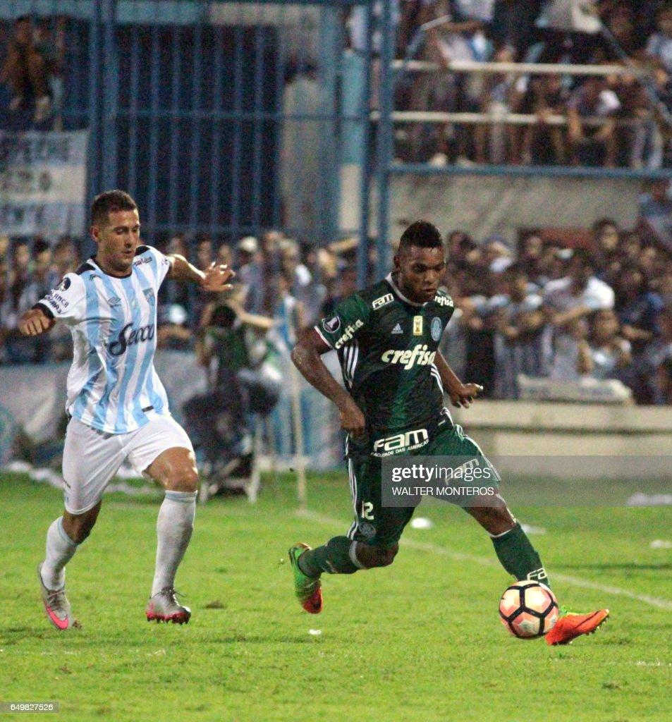 Miguel Borja Hernandez R of Brazil s Palmeiras vies for the ball