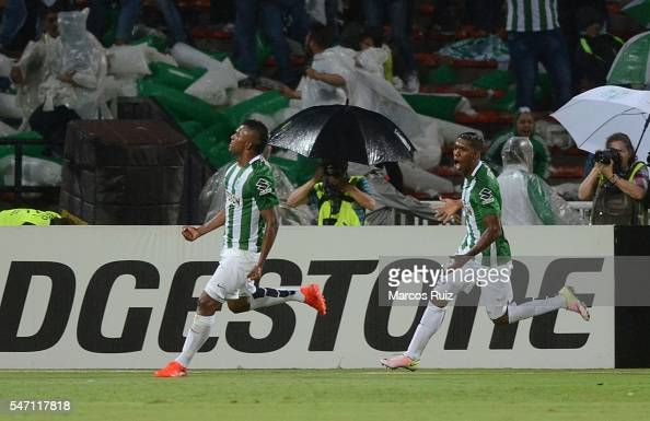 Miguel Borja of Atletico Nacional celebrates after scoring the first goal of his team during a second leg semi final match between Atletico Nacional...