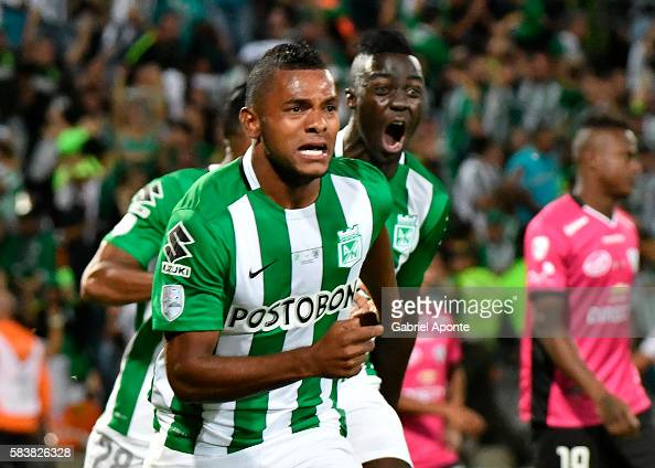 Miguel Borja of Atletico Nacional celebrates after scoring the opening goal during a second leg final match between Atletico Nacional and...