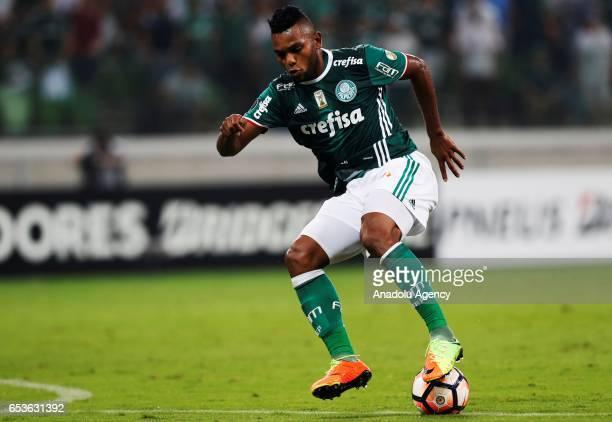 Miguel Borja of Brazil's Palmeiras control the ball during a match between Palmeiras and Jorge Wilstermann as part of Libertadores Cup football match...