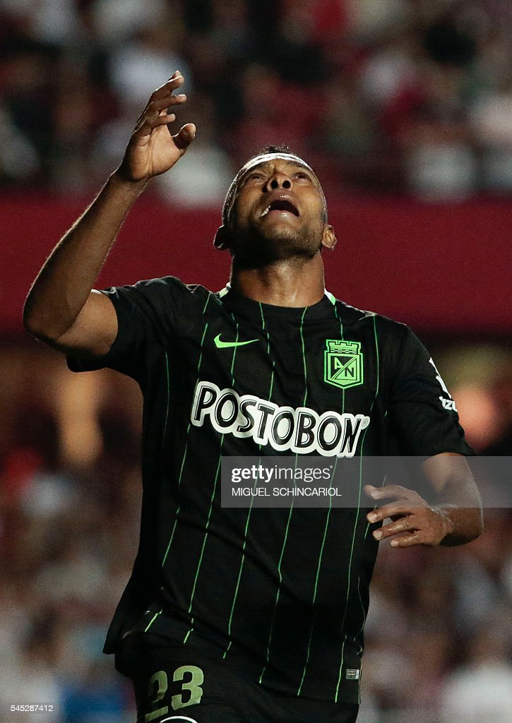 Miguel Borja of Colombia's Atletico Nacional celebrates after scoring against Brazil's Sao Paulo during their 2016 Copa Libertadores semi final first...