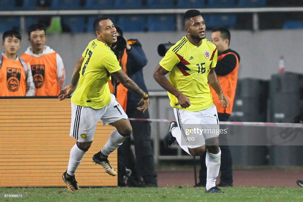 Miguel Borja #16 of Columbia National Team celebrates a point during the international friendly match between China and Columbia at Chongqing Olympic Sports Centre on November 14, 2017 in Chongqing, China.