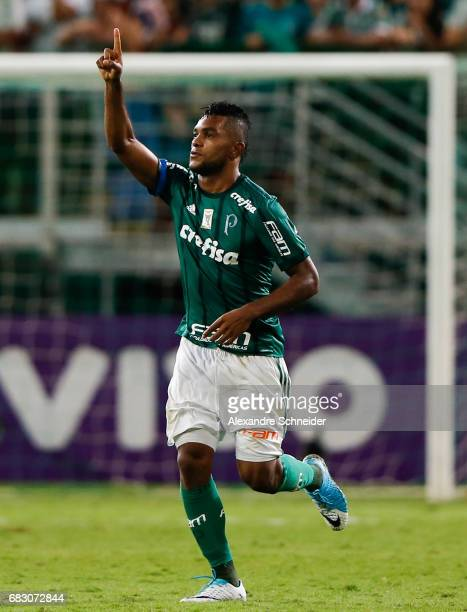 Miguel Borja of Palmeiras celebrates after scoring their fourth goal during the match between Palmeiras and Vasco da Gama for the Brasileirao Series...