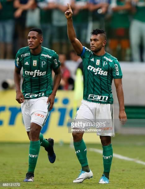 Miguel Borja of Palmeiras celebrates after scoring their thirth goal during the match between Palmeiras and Vasco da Gama for the Brasileirao Series...