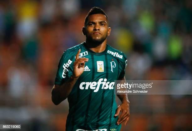 Miguel Borja of Palmeiras celebrates their second goal during the match between Palmeiras and Ponte Preta for the Brasileirao Series A 2017 at...
