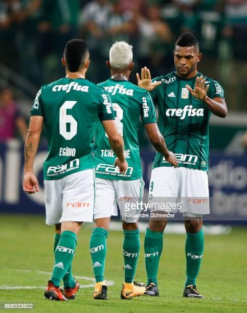 Miguel Borja of Palmeiras celebrayes their first goal during the match between Palmeiras and Cruzeiro for the Brasileirao Series A 2017 at Allianz...