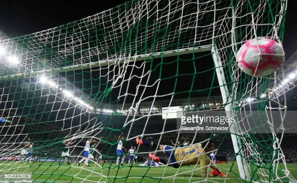 Miguel Borja of Palmeiras scores their first goal during the match between Palmeiras and Cruzeiro for the Brasileirao Series A 2017 at Allianz Parque...