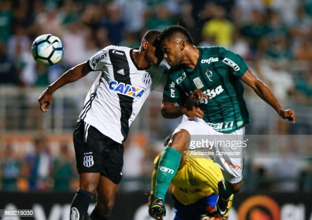 Miguel Borja of Palmeiras scores their second goal during the match between Palmeiras and Ponte Preta for the Brasileirao Series A 2017 at Pacaembu...