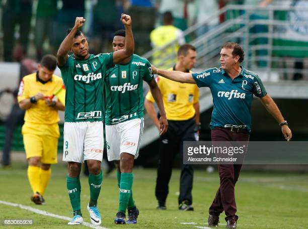 Miguel Borja of Palmeirascelebrates after scoring their thirth goal during the match between Palmeiras and Vasco da Gama for the Brasileirao Series A...