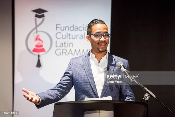 Miguel Bosé Scholarship winner Ernesto Núñez at Berklee College of Music on June 9 2017 in Boston Massachusetts