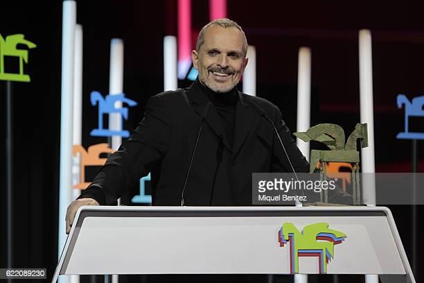 Miguel Bose accepts a Ondas Award during the 63th Ondas Gala Awards 2016 at the Gran Teatre del Liceu on November 9 2016 in Barcelona Spain