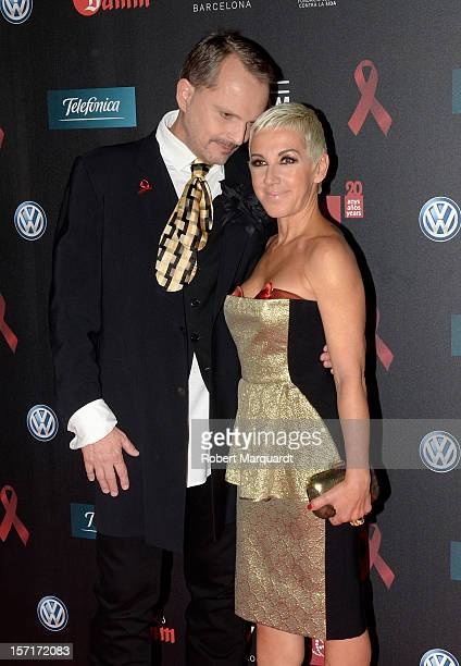 Miguel Bose and Ana Torroja pose during a photocall for the 'Gala against HIV 2012' at the Hotel W on November 29 2012 in Barcelona Spain