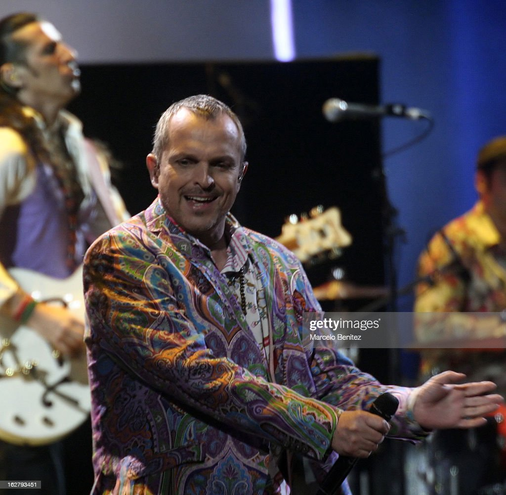 <a gi-track='captionPersonalityLinkClicked' href=/galleries/search?phrase=Miguel+Bose&family=editorial&specificpeople=577901 ng-click='$event.stopPropagation()'>Miguel Bose</a> dances during the 53rd Vina del Mar International Music Festival on February 26, 2013 in Vina del Mar, Chile.