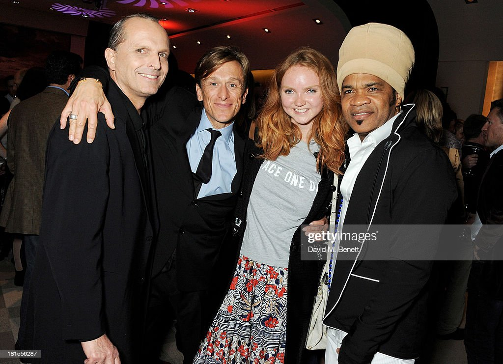 Miguel Bose, Peace One Day founder Jeremy Gilley, Lily Cole and Carlinhos Brown celebrate 'Peace One Day' at the Peace One Day concert after party held at the Hilton on September 21, 2013 in The Hague, Netherlands.