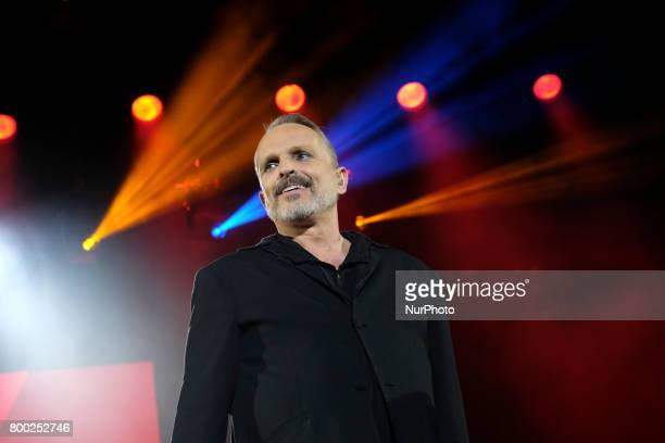 Miguel Bose performs during his concert in Madrid at the Palacio de los Deportes June 23 2017