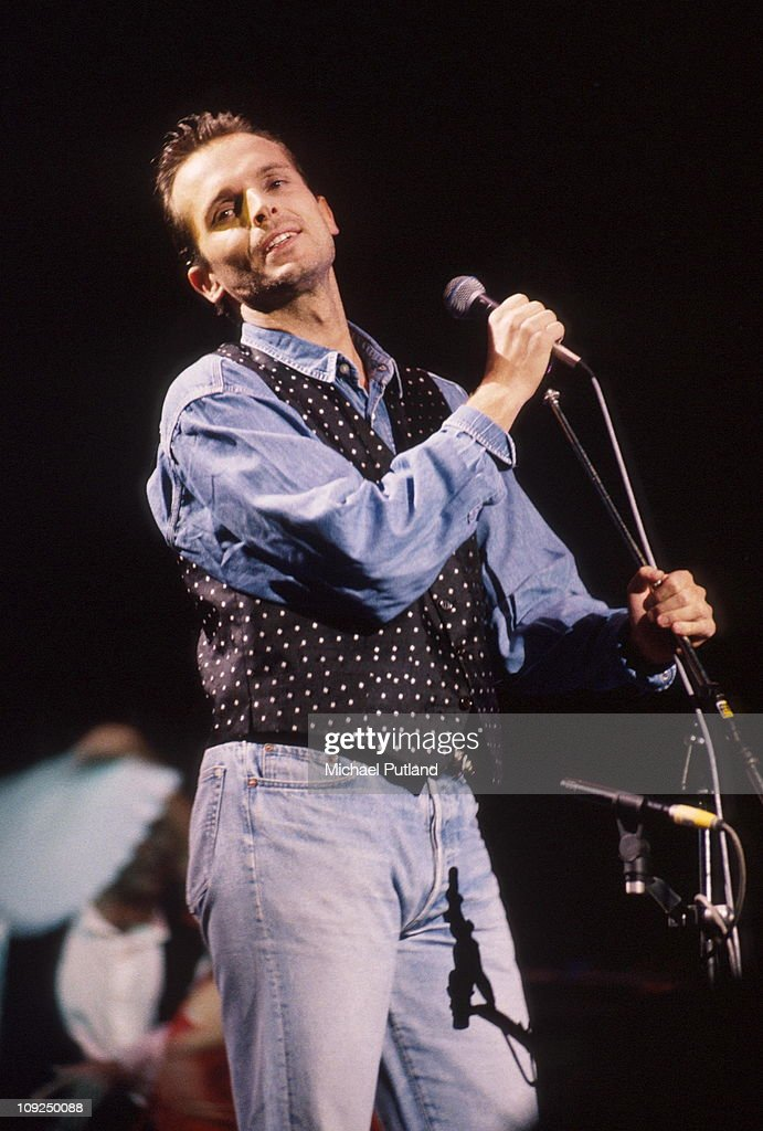 Miguel Bose performs on stage London 1991