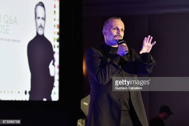 Miguel Bose speaks at the Billboard Latin Conference 2017 at Ritz Carlton South Beach on April 26 2017 in Miami Beach Florida