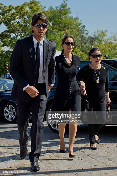 Miguel Boyer's wife Isabel Preysler arrives at Ermita de San Isidro Cemetery with her son in law Fernado Verdasco and her mother Beatriz Arrastia on...