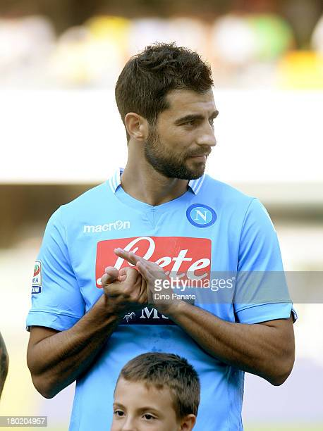 Miguel Britos of SSC Napoli looks on before the Serie A match between AC Chievo Verona and SSC Napoli at Stadio Marc'Antonio Bentegodi on August 31...